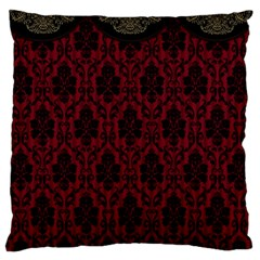 Elegant Black And Red Damask Antique Vintage Victorian Lace Style Large Cushion Case (Two Sides)