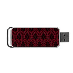 Elegant Black And Red Damask Antique Vintage Victorian Lace Style Portable USB Flash (One Side)
