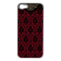 Elegant Black And Red Damask Antique Vintage Victorian Lace Style Apple iPhone 5 Case (Silver)
