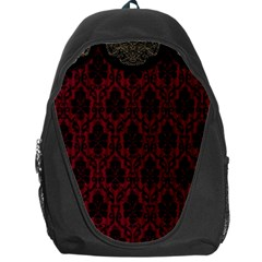 Elegant Black And Red Damask Antique Vintage Victorian Lace Style Backpack Bag