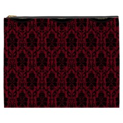 Elegant Black And Red Damask Antique Vintage Victorian Lace Style Cosmetic Bag (XXXL)