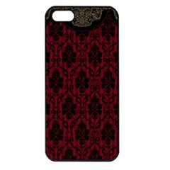 Elegant Black And Red Damask Antique Vintage Victorian Lace Style Apple iPhone 5 Seamless Case (Black)