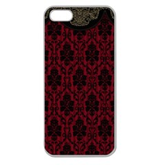 Elegant Black And Red Damask Antique Vintage Victorian Lace Style Apple Seamless iPhone 5 Case (Clear)