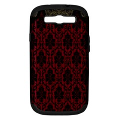 Elegant Black And Red Damask Antique Vintage Victorian Lace Style Samsung Galaxy S III Hardshell Case (PC+Silicone)