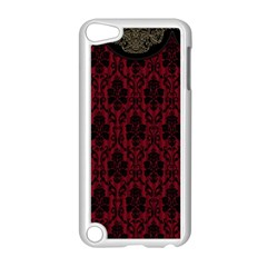 Elegant Black And Red Damask Antique Vintage Victorian Lace Style Apple iPod Touch 5 Case (White)