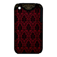 Elegant Black And Red Damask Antique Vintage Victorian Lace Style iPhone 3S/3GS