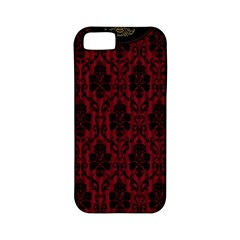 Elegant Black And Red Damask Antique Vintage Victorian Lace Style Apple iPhone 5 Classic Hardshell Case (PC+Silicone)