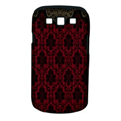Elegant Black And Red Damask Antique Vintage Victorian Lace Style Samsung Galaxy S III Classic Hardshell Case (PC+Silicone)