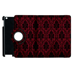 Elegant Black And Red Damask Antique Vintage Victorian Lace Style Apple iPad 3/4 Flip 360 Case
