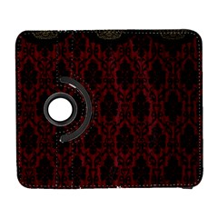 Elegant Black And Red Damask Antique Vintage Victorian Lace Style Galaxy S3 (Flip/Folio)