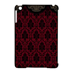 Elegant Black And Red Damask Antique Vintage Victorian Lace Style Apple iPad Mini Hardshell Case (Compatible with Smart Cover)