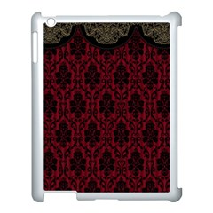 Elegant Black And Red Damask Antique Vintage Victorian Lace Style Apple iPad 3/4 Case (White)