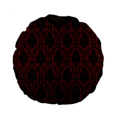 Elegant Black And Red Damask Antique Vintage Victorian Lace Style Standard 15  Premium Round Cushions