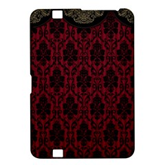 Elegant Black And Red Damask Antique Vintage Victorian Lace Style Kindle Fire Hd 8 9