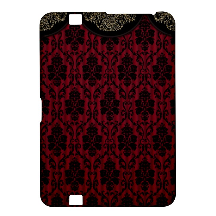 Elegant Black And Red Damask Antique Vintage Victorian Lace Style Kindle Fire HD 8.9