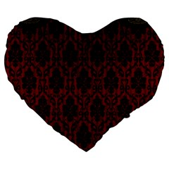 Elegant Black And Red Damask Antique Vintage Victorian Lace Style Large 19  Premium Heart Shape Cushions