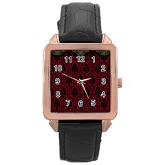 Elegant Black And Red Damask Antique Vintage Victorian Lace Style Rose Gold Leather Watch