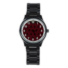 Elegant Black And Red Damask Antique Vintage Victorian Lace Style Stainless Steel Round Watch