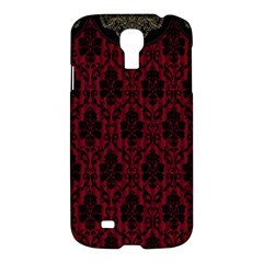Elegant Black And Red Damask Antique Vintage Victorian Lace Style Samsung Galaxy S4 I9500/I9505 Hardshell Case