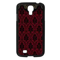 Elegant Black And Red Damask Antique Vintage Victorian Lace Style Samsung Galaxy S4 I9500/ I9505 Case (Black)