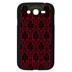 Elegant Black And Red Damask Antique Vintage Victorian Lace Style Samsung Galaxy Grand DUOS I9082 Case (Black)