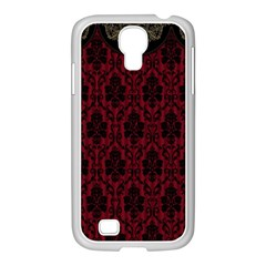 Elegant Black And Red Damask Antique Vintage Victorian Lace Style Samsung GALAXY S4 I9500/ I9505 Case (White)