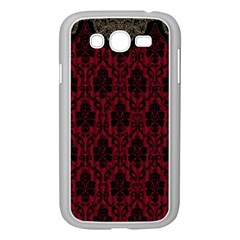 Elegant Black And Red Damask Antique Vintage Victorian Lace Style Samsung Galaxy Grand DUOS I9082 Case (White)