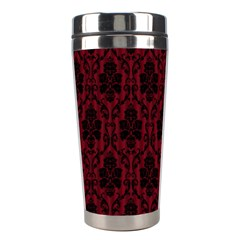 Elegant Black And Red Damask Antique Vintage Victorian Lace Style Stainless Steel Travel Tumblers