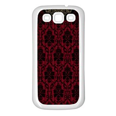 Elegant Black And Red Damask Antique Vintage Victorian Lace Style Samsung Galaxy S3 Back Case (White)