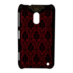 Elegant Black And Red Damask Antique Vintage Victorian Lace Style Nokia Lumia 620
