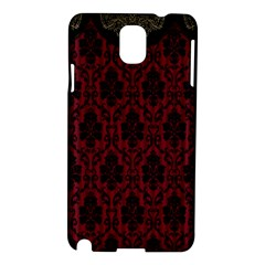 Elegant Black And Red Damask Antique Vintage Victorian Lace Style Samsung Galaxy Note 3 N9005 Hardshell Case