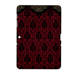 Elegant Black And Red Damask Antique Vintage Victorian Lace Style Samsung Galaxy Tab 2 (10.1 ) P5100 Hardshell Case