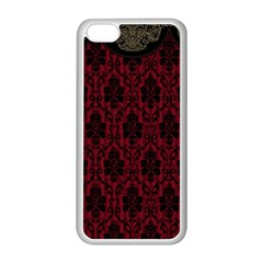 Elegant Black And Red Damask Antique Vintage Victorian Lace Style Apple iPhone 5C Seamless Case (White)