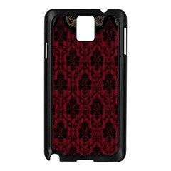 Elegant Black And Red Damask Antique Vintage Victorian Lace Style Samsung Galaxy Note 3 N9005 Case (Black)