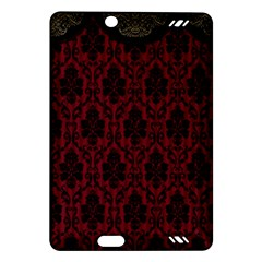 Elegant Black And Red Damask Antique Vintage Victorian Lace Style Amazon Kindle Fire HD (2013) Hardshell Case