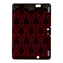 Elegant Black And Red Damask Antique Vintage Victorian Lace Style Kindle Fire HDX 8.9  Hardshell Case