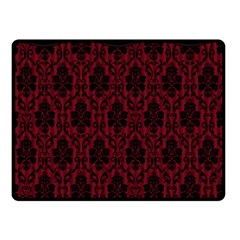 Elegant Black And Red Damask Antique Vintage Victorian Lace Style Double Sided Fleece Blanket (Small)
