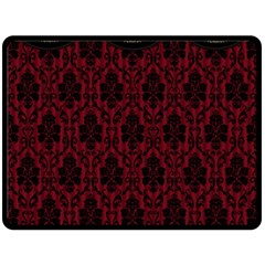 Elegant Black And Red Damask Antique Vintage Victorian Lace Style Double Sided Fleece Blanket (Large)