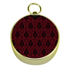 Elegant Black And Red Damask Antique Vintage Victorian Lace Style Gold Compasses