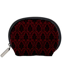 Elegant Black And Red Damask Antique Vintage Victorian Lace Style Accessory Pouches (Small)