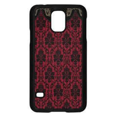 Elegant Black And Red Damask Antique Vintage Victorian Lace Style Samsung Galaxy S5 Case (Black)