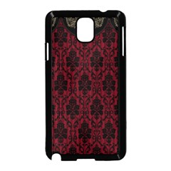 Elegant Black And Red Damask Antique Vintage Victorian Lace Style Samsung Galaxy Note 3 Neo Hardshell Case (Black)