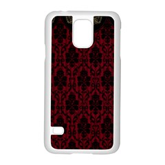 Elegant Black And Red Damask Antique Vintage Victorian Lace Style Samsung Galaxy S5 Case (White)