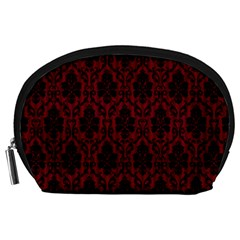 Elegant Black And Red Damask Antique Vintage Victorian Lace Style Accessory Pouches (Large)