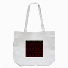 Elegant Black And Red Damask Antique Vintage Victorian Lace Style Tote Bag (White)