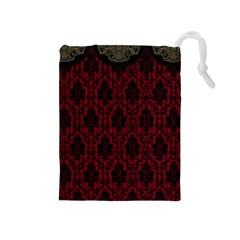 Elegant Black And Red Damask Antique Vintage Victorian Lace Style Drawstring Pouches (Medium)