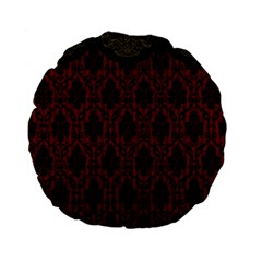 Elegant Black And Red Damask Antique Vintage Victorian Lace Style Standard 15  Premium Flano Round Cushions