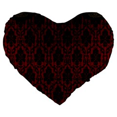Elegant Black And Red Damask Antique Vintage Victorian Lace Style Large 19  Premium Flano Heart Shape Cushions