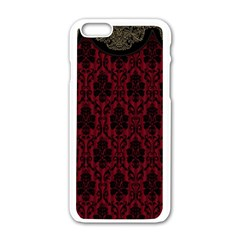 Elegant Black And Red Damask Antique Vintage Victorian Lace Style Apple iPhone 6/6S White Enamel Case