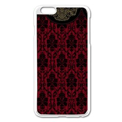 Elegant Black And Red Damask Antique Vintage Victorian Lace Style Apple iPhone 6 Plus/6S Plus Enamel White Case